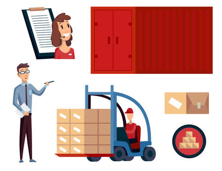 Warehouse. Logistics illustrations collection. Warehouse center, checklist, container, forklift and workers. Modern flat style vector illustration isolated on white background