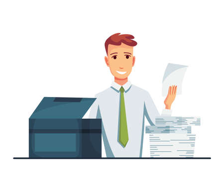Office documents copier. Office worker prints documents on the copier. Man works on a photocopier. Concept of office work