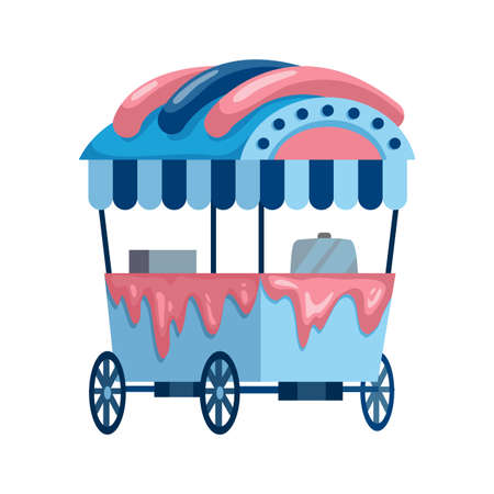 Street fast food. Ice cream truck sale. Side view of ice cream cart
