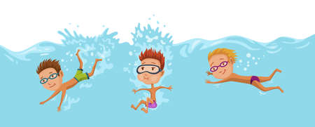 Childrens swimming in pool. Cheerful and active little boys and girls swimming in pool. Boys and girls in swimwear are swimming in a children pool. Underwater view. Sport team Stock Illustratie