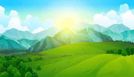 Landscape green meadows with mountains. Summer valley view. Landscape hill field. Wild nature grass and forest in countryside. Summer vector land with sunrise