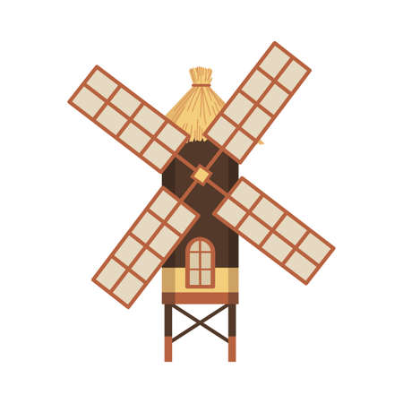 Traditional ancient european windmill building. Old rural windmill, village farm building. Alternative energy generation windmil. Medieval wind mill farm