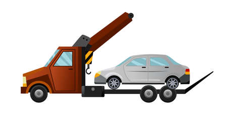 Tow truck. Cool flat towing truck with broken car. Road car repair service assistance vehicle with damaged or salvaged car Vector Illustration