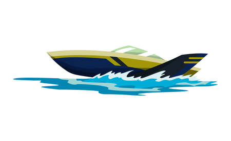 Speed motorboat. Sea or river vehicle. Sport nautical summer transportation. Motorized water vessel on sea water waves. Isolated on white background