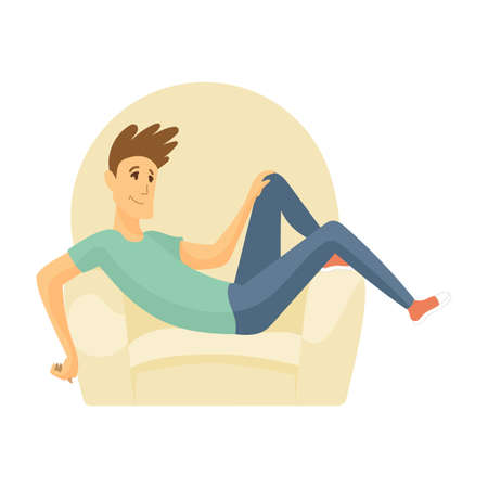 Home leisure. Boy sit on sofa. Young people leisure time. Staying at home. Enjoyed leisure time alone