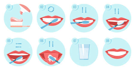 Collection of clean teeths images. Dental toothbrush. Use hygiene toothbrush for teeth. Oral health care concept. Mouth and teeth hygiene step by step
