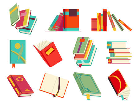 Collecction of various books, stack of books, notebooks. Reading, learn and receive education through books. Read more books. Hand drawn educational vector illustration. Flat design style