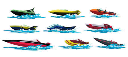 Speed motorboats. Sea or river vehicles. Nautical collection of summer transportation. Motorized water vessel with water splashes. Isolated on white background Vettoriali