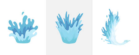 Water splash. Blue water waves set, wavy liquid symbols of nature in motion. Isolated vector design elements