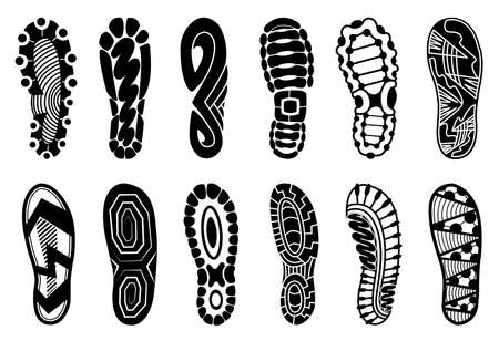 Collection of footprints human shoes silhouette. Set of shoe soles print. Different vector footprints men women sneakers shoes boots. Isolated footstamp icons on white background Vettoriali