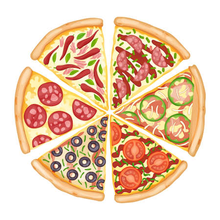 Color pizza top view. Savoury pizza ads with 3d illustration rich toppings dough. Colorful and tasty vector banner for cafe, restaurant or food delivery service