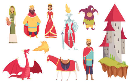 Medieval kingdom characters of middle ages historic period vector Illustrations. Peoples set. Kings queens knight jester castle fortress and dragon