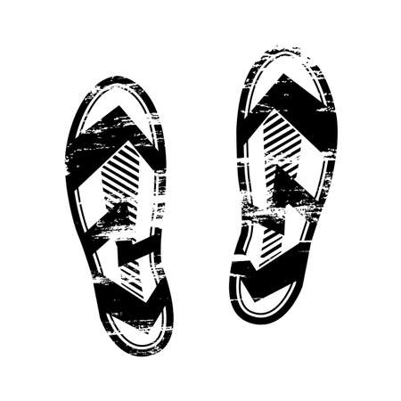 Pair footprints human shoes silhouette. Shoe soles print. Vector footstep icon, isolated footstamp on white background Vettoriali