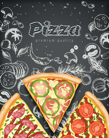 Color pizza poster. Savoury pizza ads with 3d illustration rich toppings dough on engraved style chalk doodle background. Vector banner for cafe, restaurant or food delivery service. Top view Stock fotó - 155412119