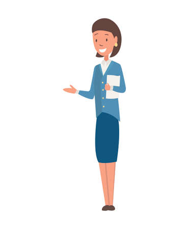 Character teacher profession. Woman worker occupation in the uniform. Isolated vector illustration in cartoon style