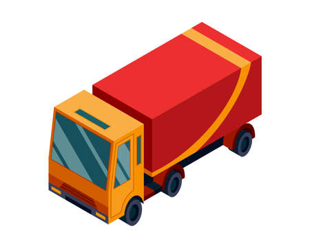 Isometric logistics. Transportation isometric element. Truck loaded. Vehicle designed to carry large numbers of goods Ilustrace