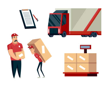 Warehouse. Logistics illustrations collection. Warehouse center, loading cargo trucks, weight, workers. Modern flat style vector illustration isolated on white background Vektorové ilustrace