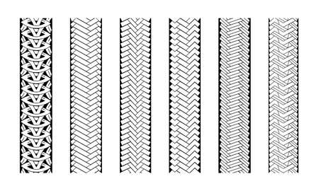 Editable tire tracks texture. Collection seamless tire pattern. Detailed tracks protector image. Set of tire imprints