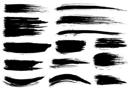 Paint brush. Black ink grunge brush strokes. Vector paintbrush set. Grunge design elements. Painted ink stripes