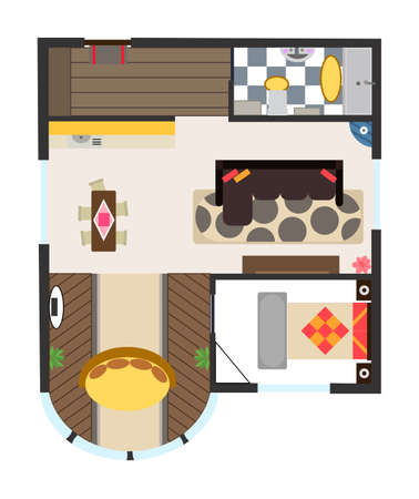Interior plan. Detailed apartment furniture overhead top view. Apartment room plan. Architectural color floor plan with one bedroom. Studio apartment. Hand drawn top view
