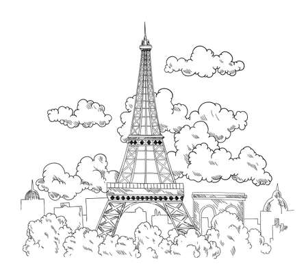 Eiffel Tower drawn by pen. Beautiful banner with Paris city landscape. Hand drawn sketch with view of famous architecture monument