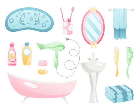 Bathroom cartoon elements collection. Personal hygiene and everyday body care bath accessories. Towel, bathtub, mirror, toothbrush and bottles isolated vector objects