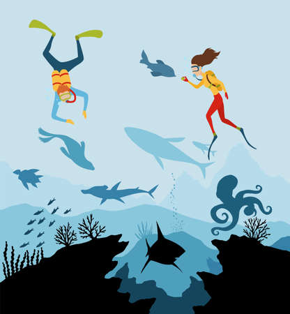 Diver explorers and reef underwater wildlife. Silhouette of coral reef with fish and scuba diver on a blue sea background. Underwater marine wildlife. Nature vector illustration Stock Illustratie