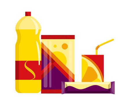 Snack product set. Fast food snacks drinks, juice and sweet bars isolated on white background. Classic fast food nutrition in flat style. Vector illustration of restaurant menu snack Vector Illustratie