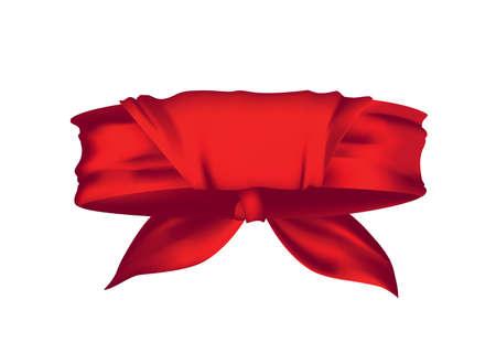Red realistic bandana on neck. Youth fashion neck scarf or cowboy garment element template. Biker face scarf, bandanna neck shawl. Blank handkerchief unisex uniform. Western clothes Иллюстрация