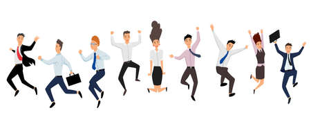 Jumping business people. Group of business people jumps on a white background. Vector illustration of a flat design. Set of office workers jumping. Cartoon business team Ilustração Vetorial