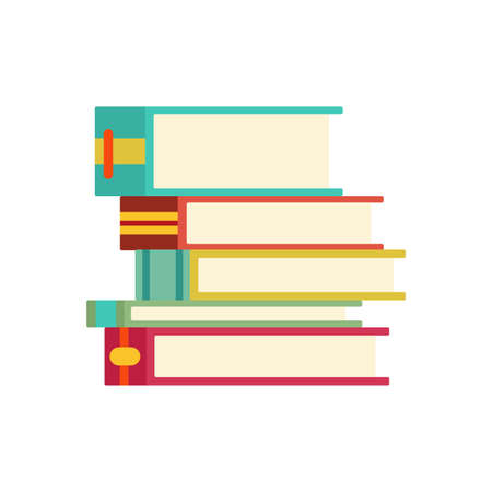 Various books, stack of books, notebooks. Set for book lovers. Read more books. Hand drawn educational vector illustration. Flat design style