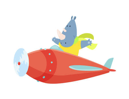 Cute rhinoceros flying an airplane with scarf fluttering. Funny pilot flying on planes. Cartoon vector illustration isolated on a white background