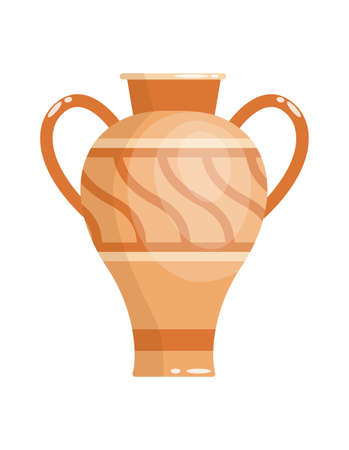 Greek vase in ancient style as template for Interior. Greece culture ceramic urn in traditional color and form. Vector greek antiquity amphora 矢量图像