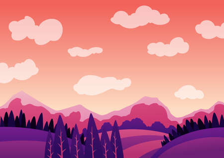 Vector summer evening landscape with mountains. Romantic summer travel concept. Flat illustration 免版税图像 - 158007520
