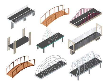 Vector isometric bridges icons set. 3d isolated drawing elements of a modern urban infrastructure for games or applications. City transport objects, road crossing, construction architecture