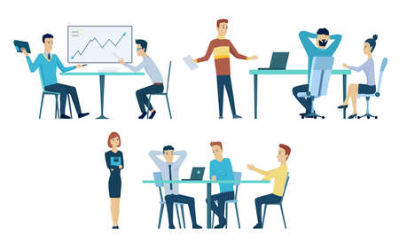 Collection of office meetings. Teamwork at workplace. Business planning process. People talking and working at conference room. Vector cartoon interior. Discussion of the company business strategy