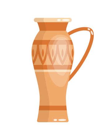 Greek vase in ancient style on white Illusztráció