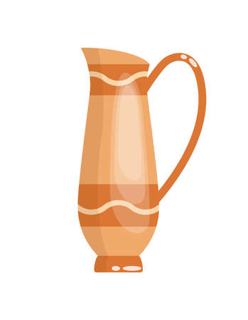 Greek vase in ancient style as template for Interior. Greece culture ceramic urn in traditional color and form. Vector greek antiquity amphora Illusztráció