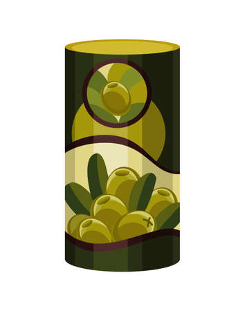 Olive. Vector green metal jar. Canned green olives. Steel can container natural organic liquid with label olives Illusztráció