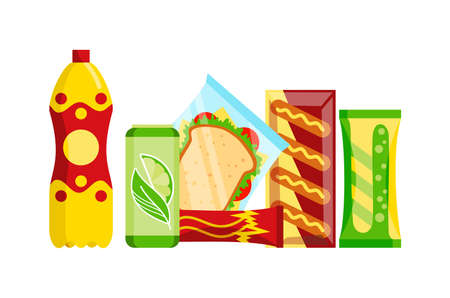 Snack product set. Fast food snacks drinks, juice and sandwich isolated on white background. Classic fast food nutrition in flat style. Vector illustration of restaurant menu snack