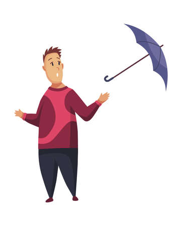 Bad windy rainy weather funny cartoon people icon. Man with umbrella standing under rain. Character with parasol