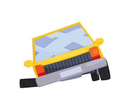 Accident on road car damaged. Road accident icon. ar crash symbol. Damaged vehicle insurance. Damaged auto. Not recoverable. Good for advertising an insurance company