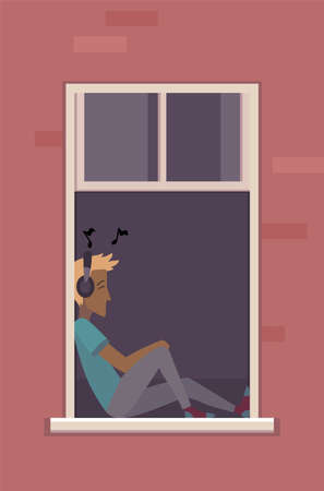 Window with people. Apartment building with people in open window spaces. Outer wall of house with man listen music. Human life concept. Block of flat house friendship concept
