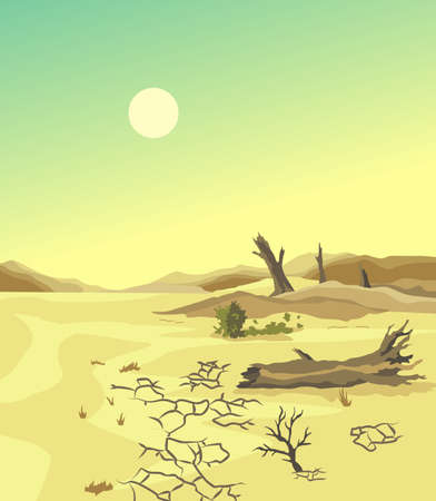 Climate change desertification illustration. Global environmental problems. Hand drawn effect of arid land with tree changing environment. Dead trees as result of climate change