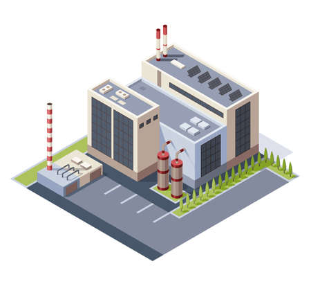 Factory isometric. Architecture of manufactures house. Concept of industrial working plant with chimney tower Ilustração