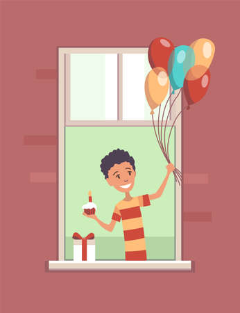 Window with people. Apartment building with people in open window spaces. Outer wall of house with smiling young boy with balloons. Human life concept. Block of flat house friendship concept