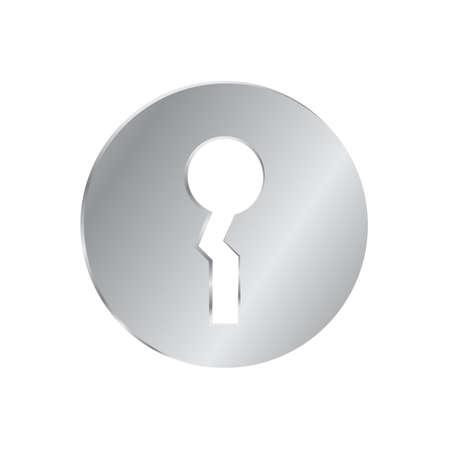 Metal door lock. Gray round lock. House interior element. Vector sign