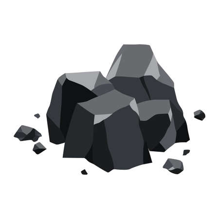 Pile of coal. Fossil stone of black mineral resources. Polygonal shapes. Rock stones of graphite or charcoal. Energy resource icon