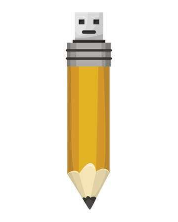 USB flash drive icon. Cartoon symbol of pencil. Colored memory stick isolated on white background in flat style Stock Illustratie