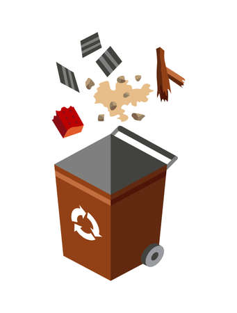 Garbage can for sorting. Recycling elements. Colored waste bin with mixed trash. Separation of waste on garbage can. Waste management concept